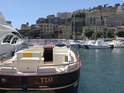 A modern gozzo boat Teo in port of Naples