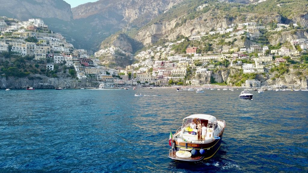 Modern gozzo boat Teo near Positano in Amalfi Coast