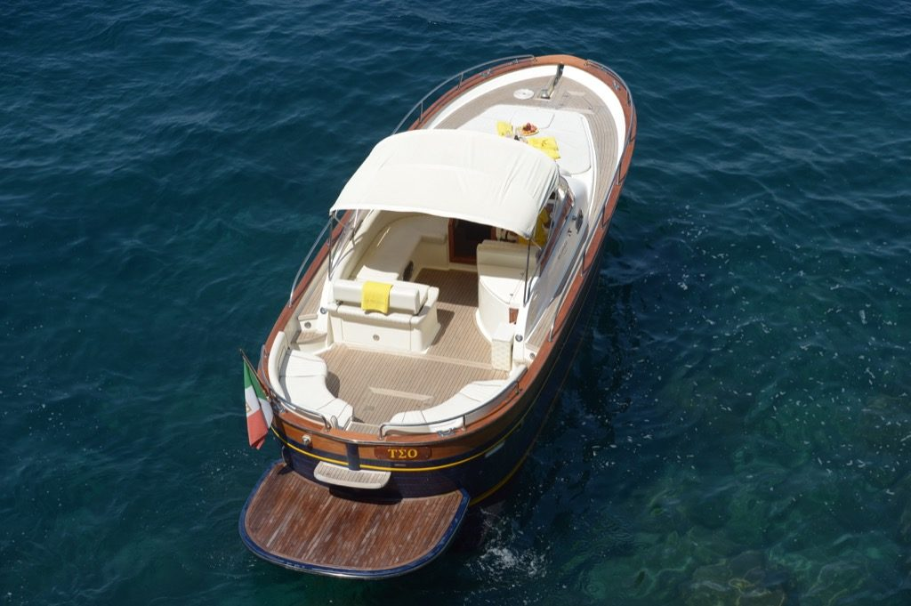 Modern gozzo boat Teo view from above