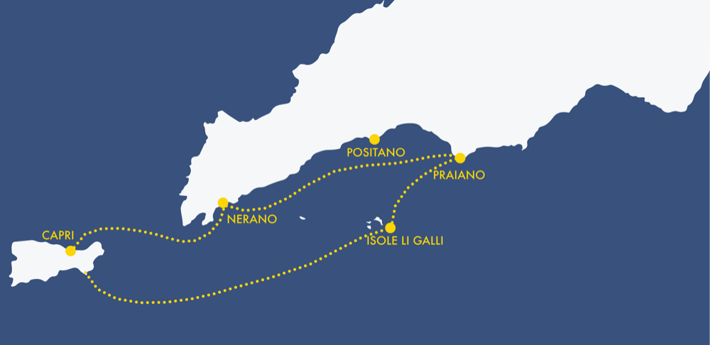 Mappa itinerario tour Capri
