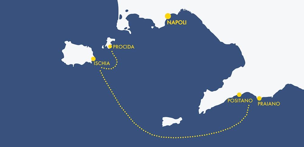 Mappa percorso tour costiera amalfitana - Ischia e Procida