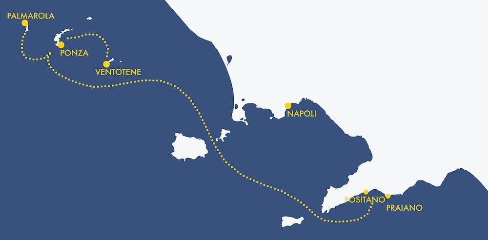 Mappa percorso tour costiera amalfitana - Ponza Ventotene Palmarola