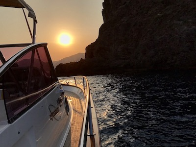 Sunset on Amalfi Coast from boat