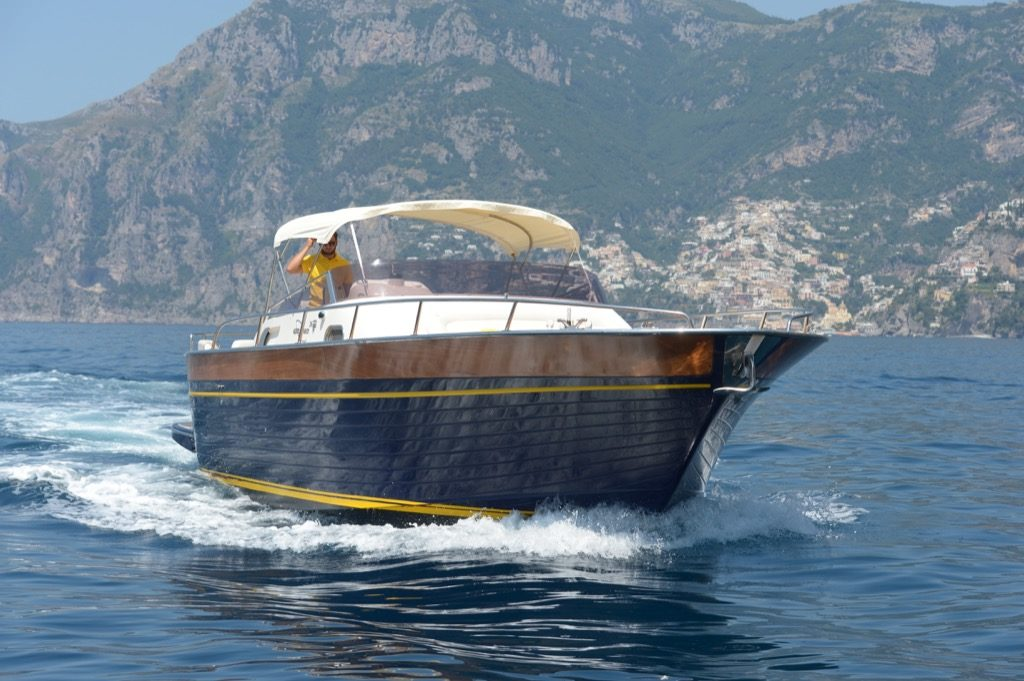 Front of modern gozzo boat Teo