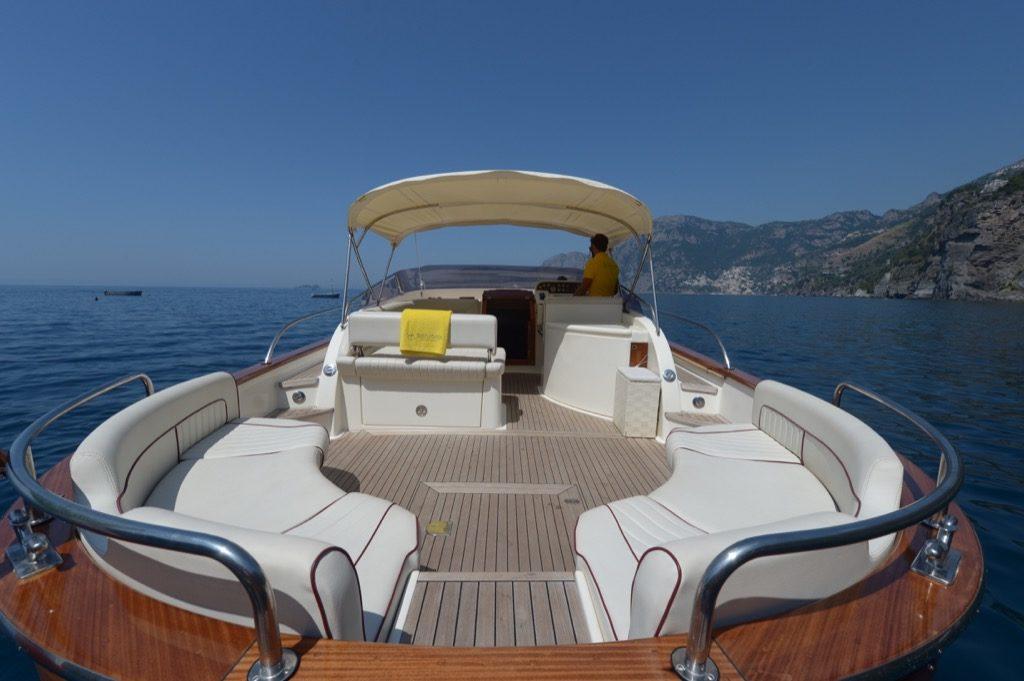 Rear of modern gozzo boat Teo where you can sunbath