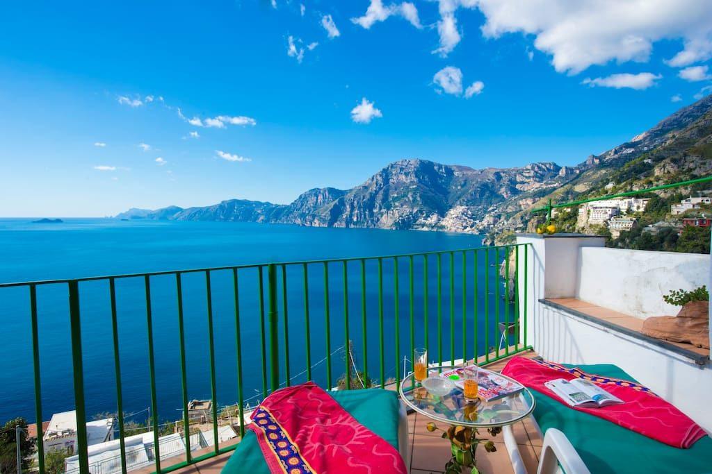 Casa Regina terrace view on Amalfi Coast sea
