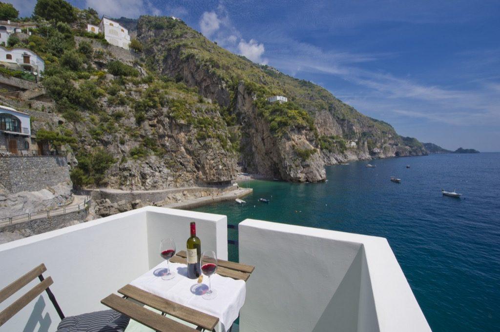 Casa Terramare terrace on the sea and the coast